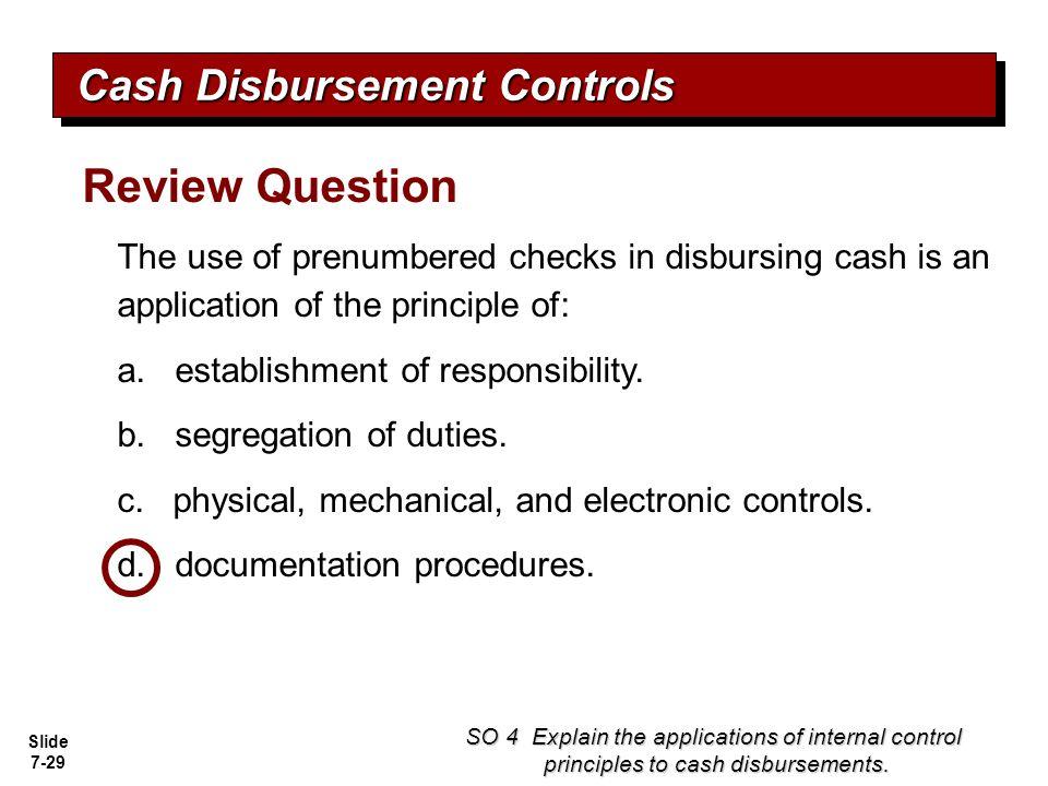 Review Question Cash Disbursement Controls