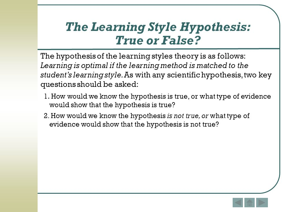 The Learning Style Hypothesis: True or False