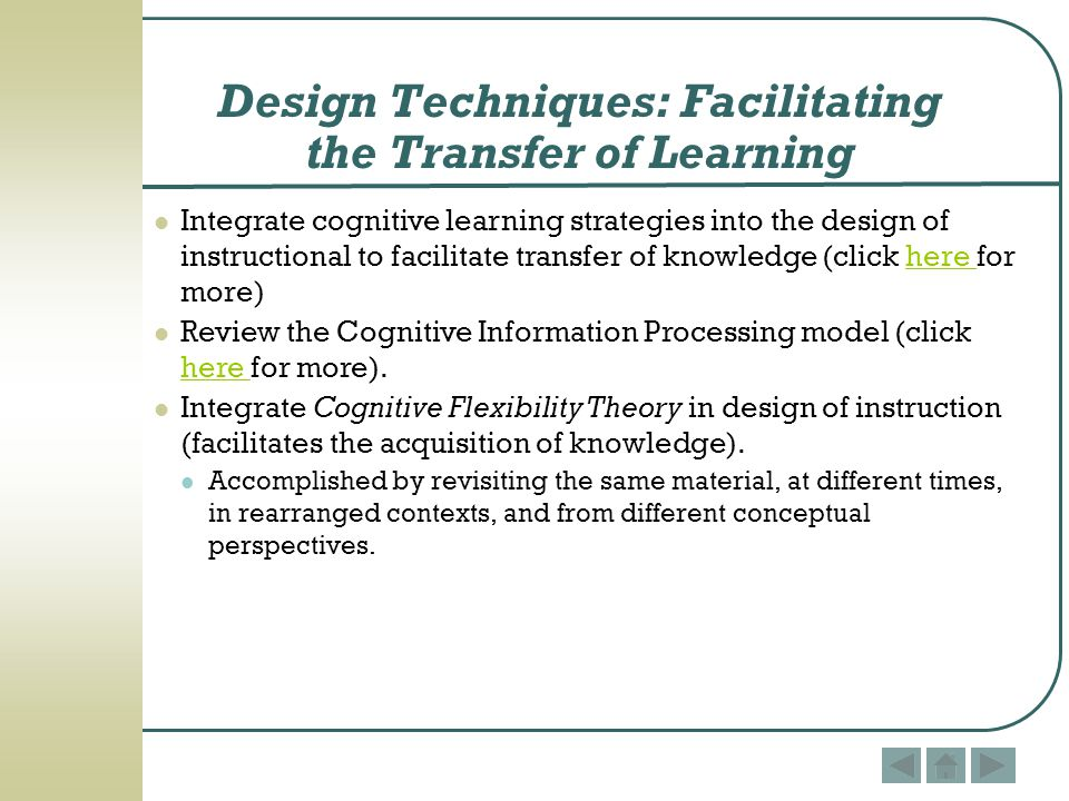 Design Techniques: Facilitating the Transfer of Learning
