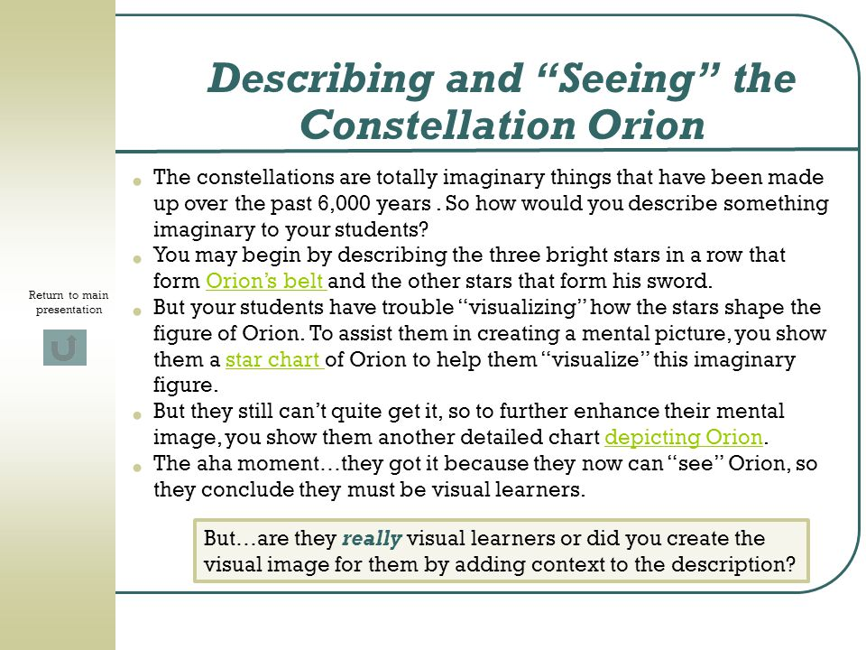 Describing and Seeing the Constellation Orion