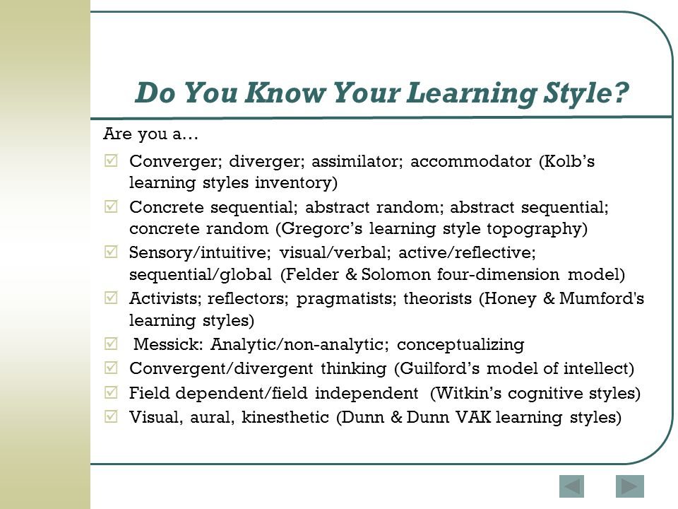 Do You Know Your Learning Style