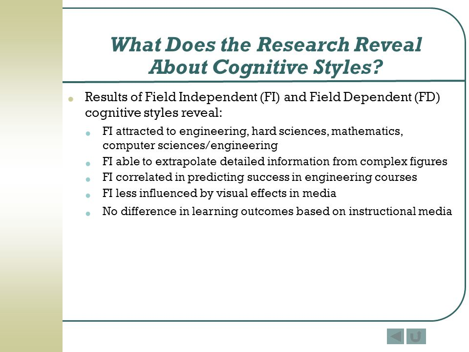 What Does the Research Reveal About Cognitive Styles