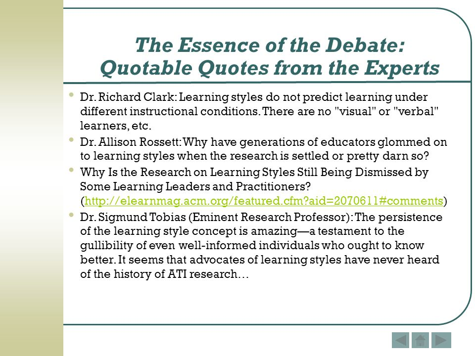 The Essence of the Debate: Quotable Quotes from the Experts