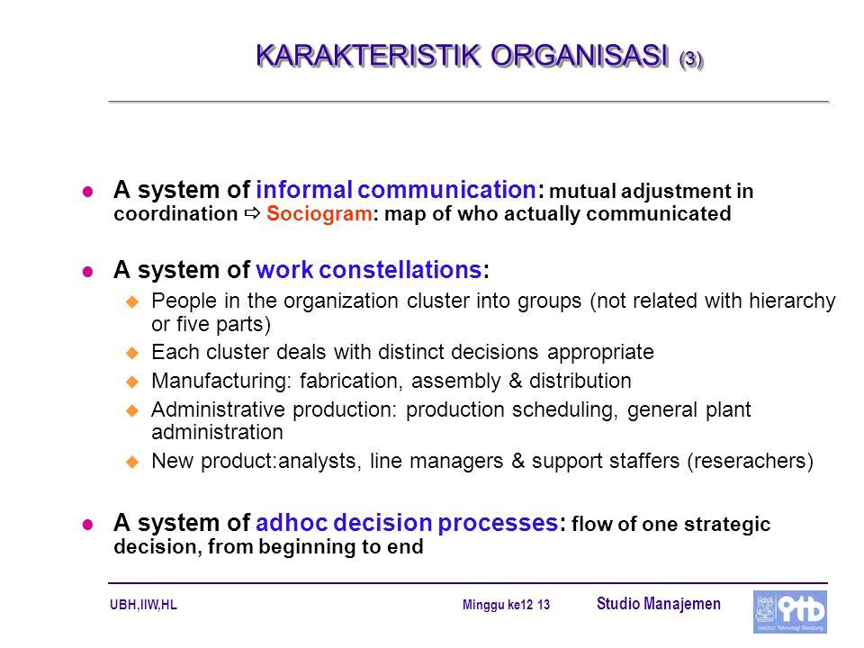 KARAKTERISTIK ORGANISASI (3)