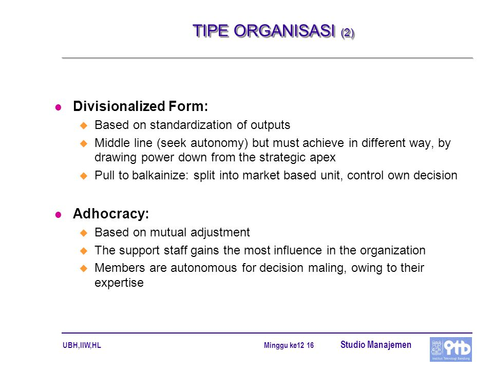 TIPE ORGANISASI (2) Divisionalized Form: Adhocracy: