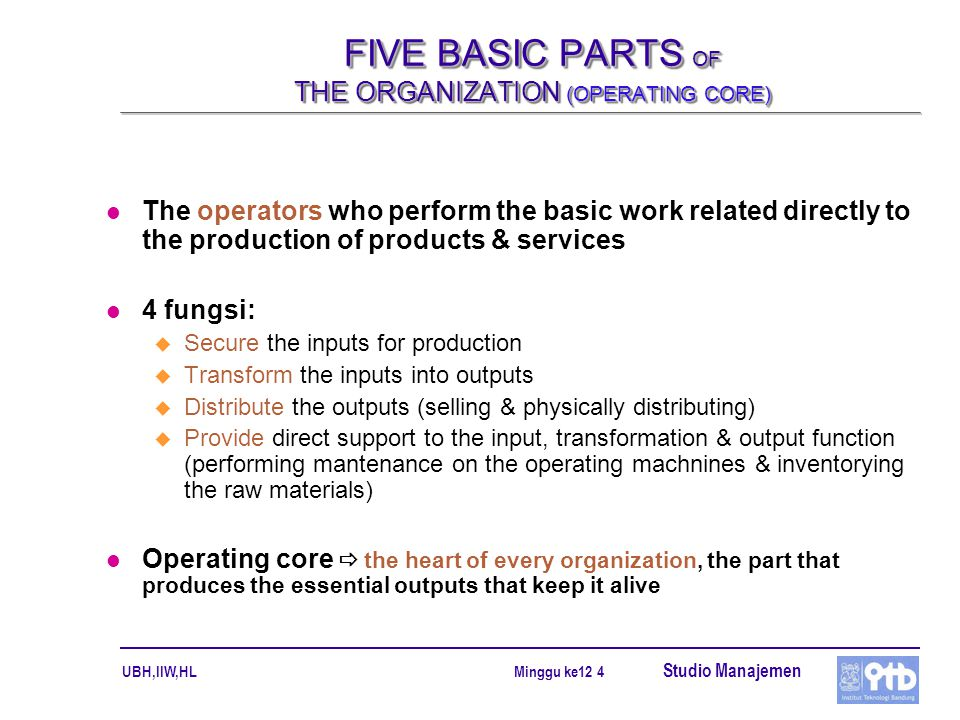 FIVE BASIC PARTS OF THE ORGANIZATION (OPERATING CORE)