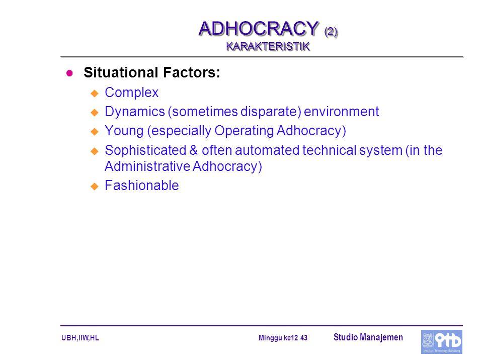 ADHOCRACY (2) KARAKTERISTIK
