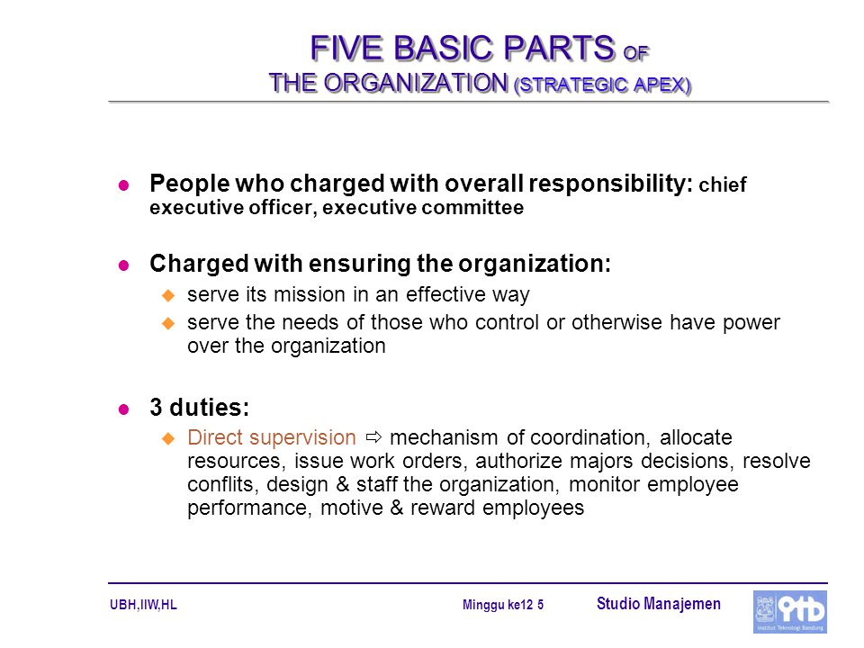 FIVE BASIC PARTS OF THE ORGANIZATION (STRATEGIC APEX)