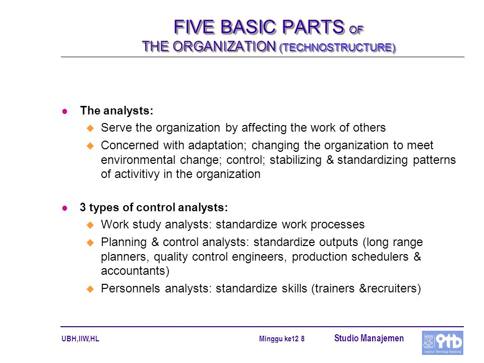 FIVE BASIC PARTS OF THE ORGANIZATION (TECHNOSTRUCTURE)