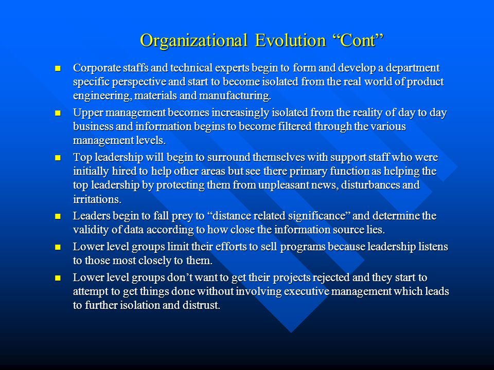 Organizational Evolution Cont
