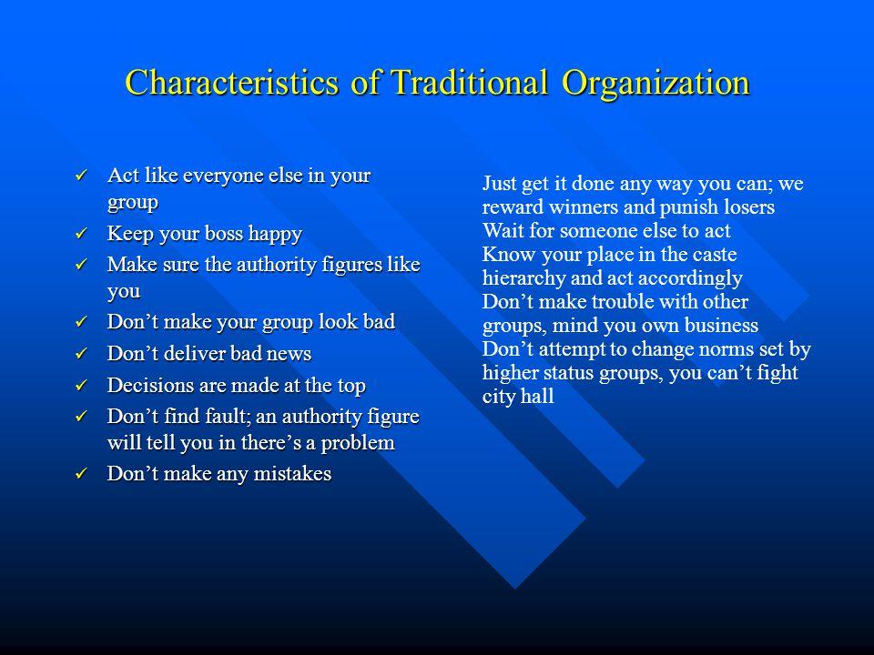 Characteristics of Traditional Organization