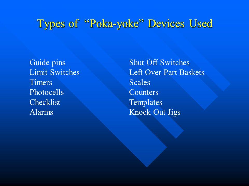 Types of Poka-yoke Devices Used