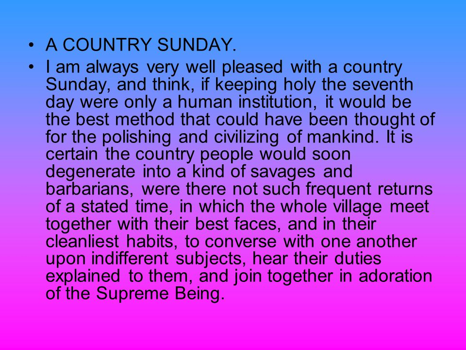 A COUNTRY SUNDAY.