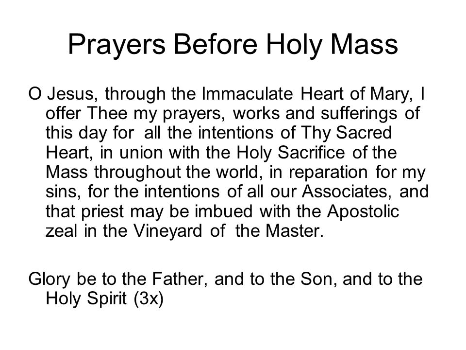 Prayers Before Holy Mass