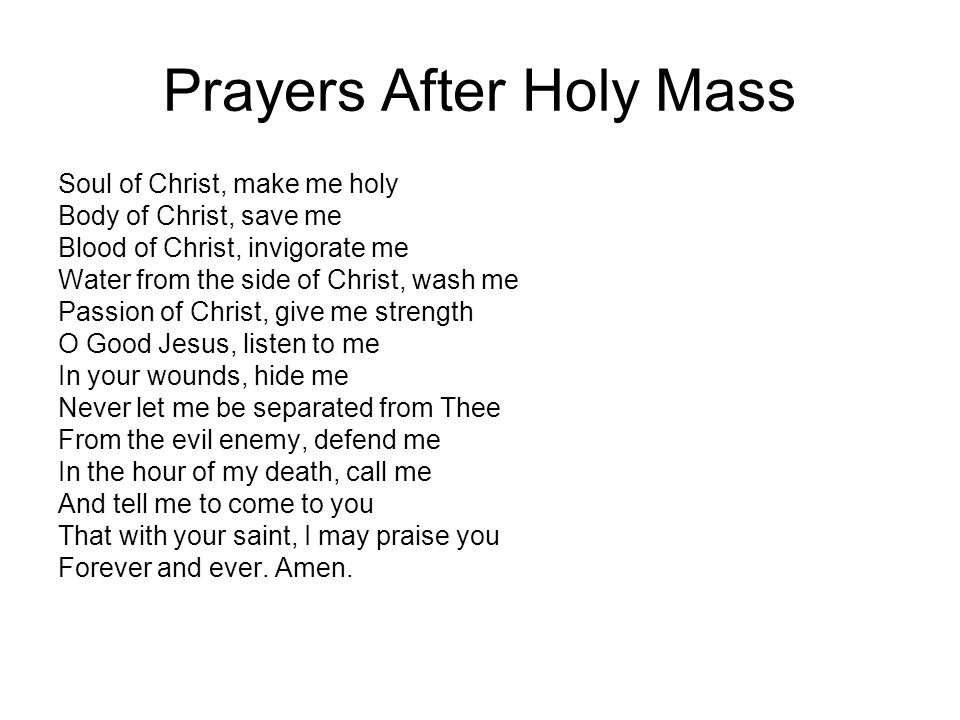 Prayers After Holy Mass