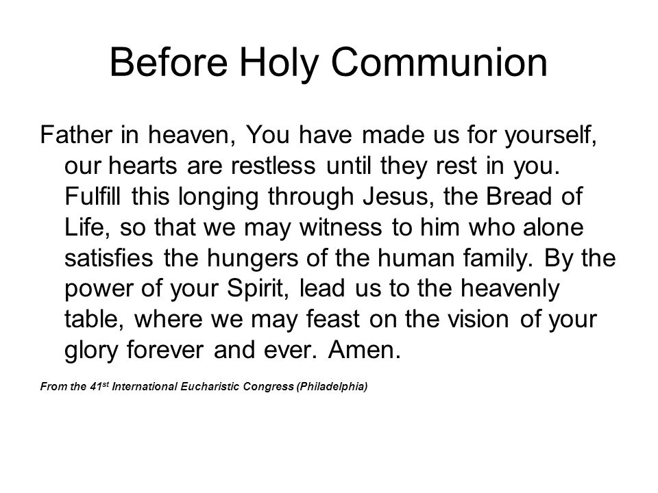 Before Holy Communion