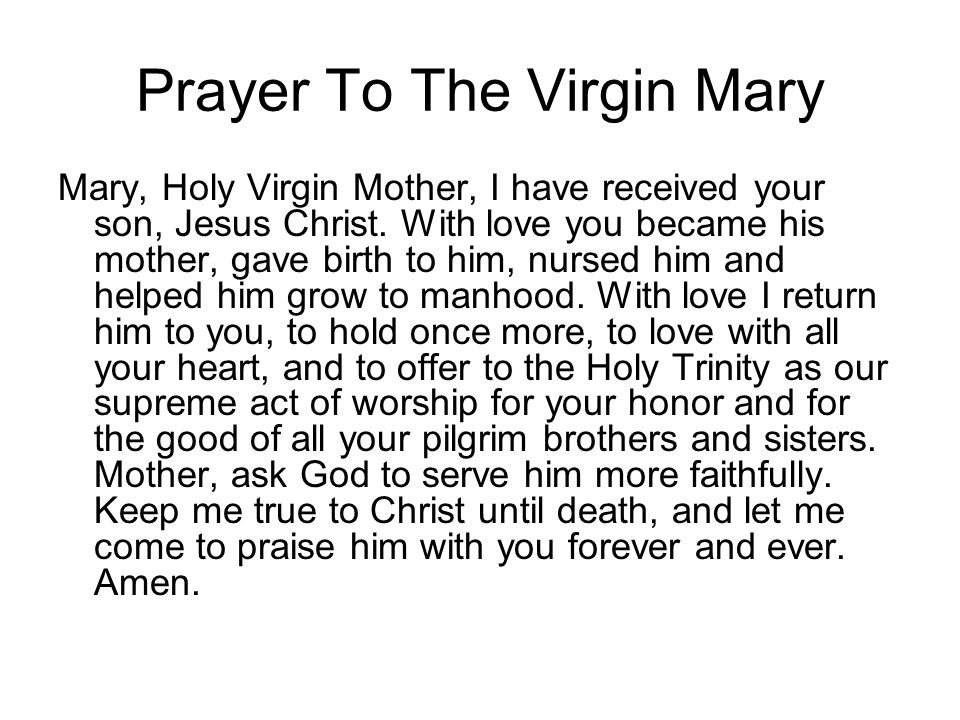 Prayer To The Virgin Mary