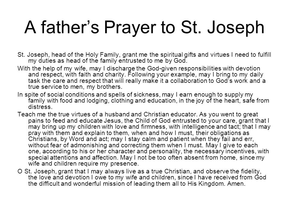 A father's Prayer to St. Joseph