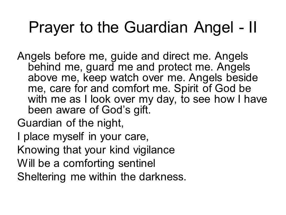 Prayer to the Guardian Angel - II