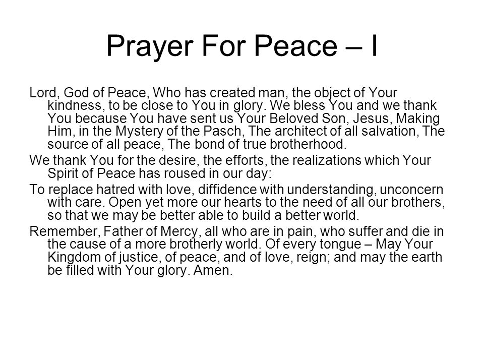 Prayer For Peace – I