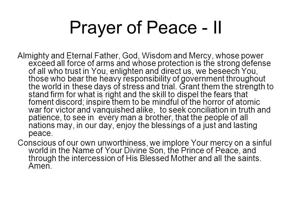 Prayer of Peace - II