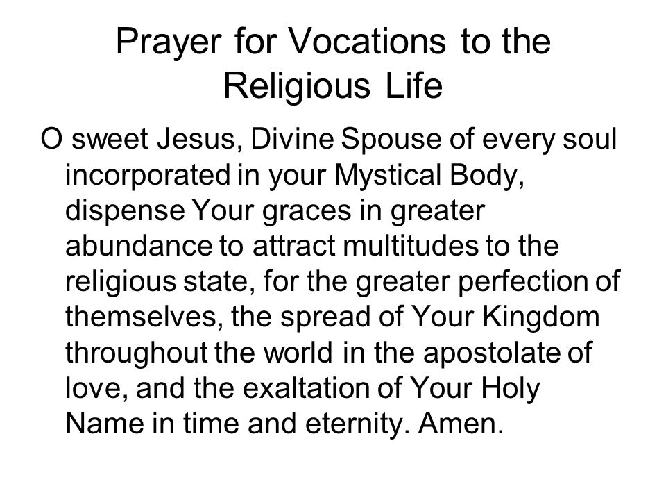 Prayer for Vocations to the Religious Life