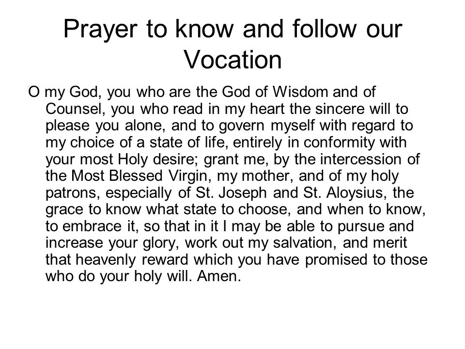 Prayer to know and follow our Vocation