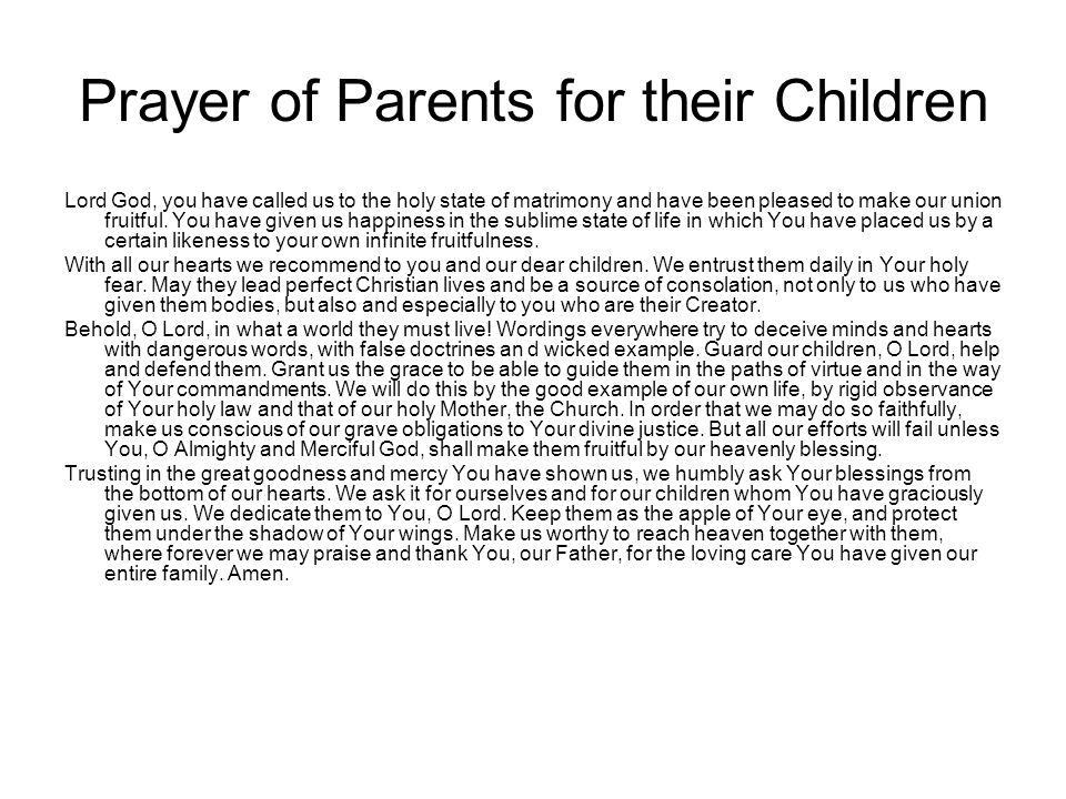 Prayer of Parents for their Children
