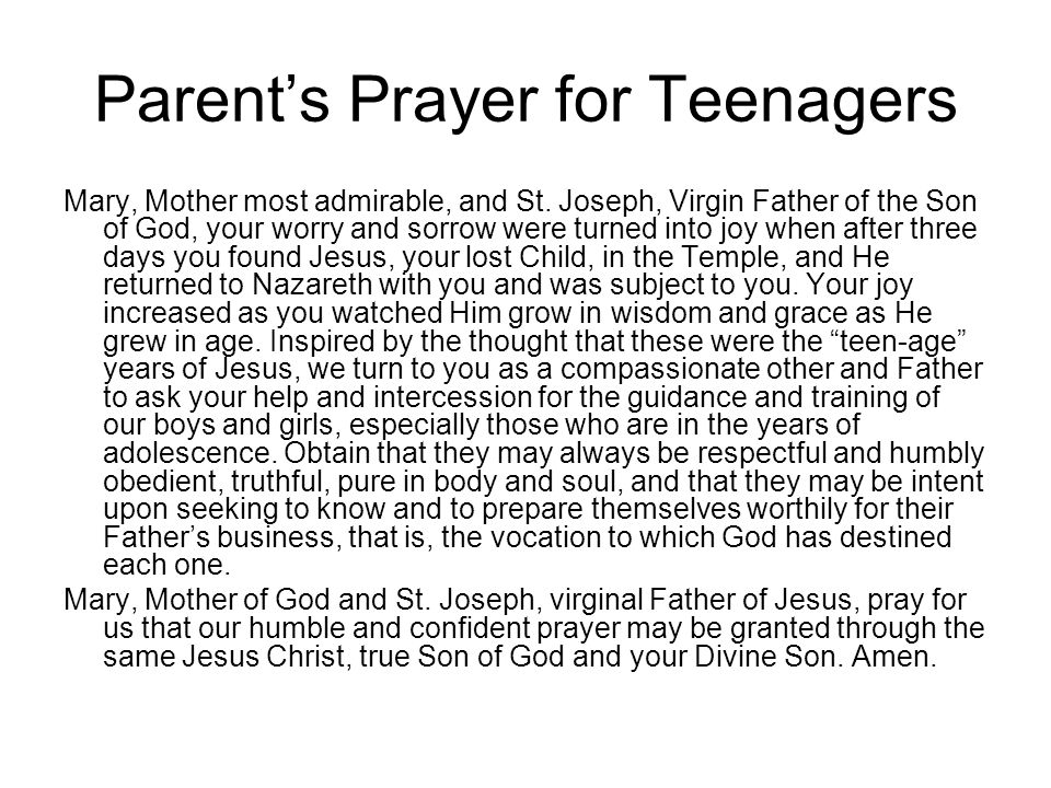 Parent's Prayer for Teenagers
