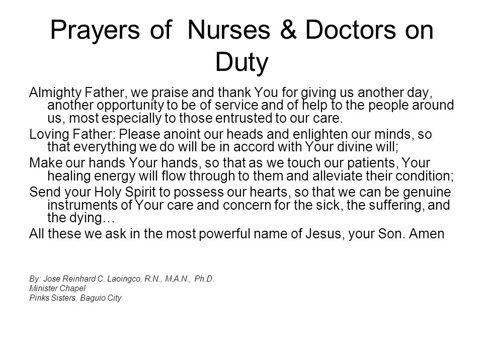 Prayers of Nurses & Doctors on Duty