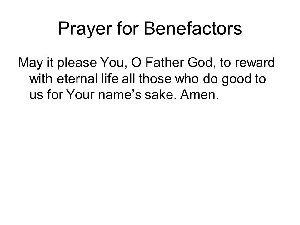 Prayer for Benefactors