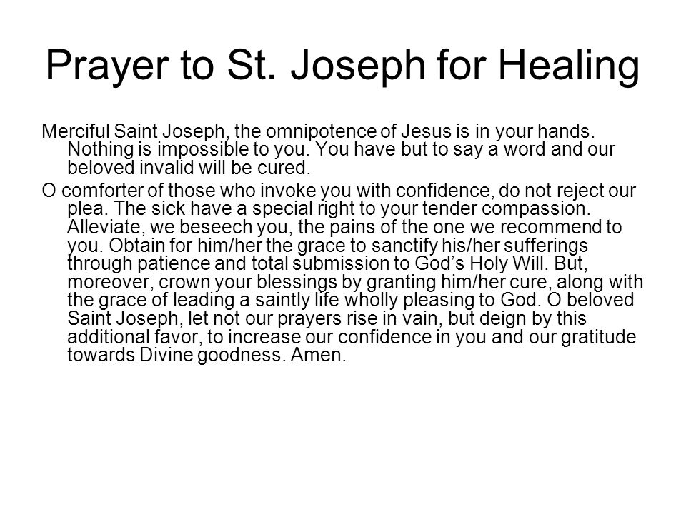 Prayer to St. Joseph for Healing