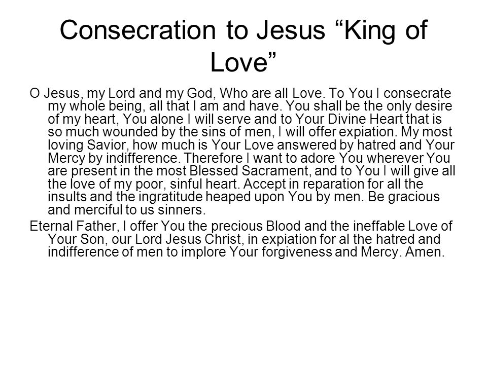 Consecration to Jesus King of Love