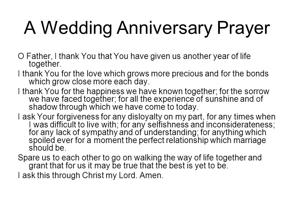 A Wedding Anniversary Prayer