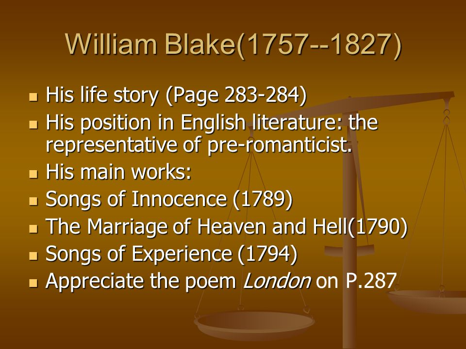 William Blake(1757--1827) His life story (Page 283-284)