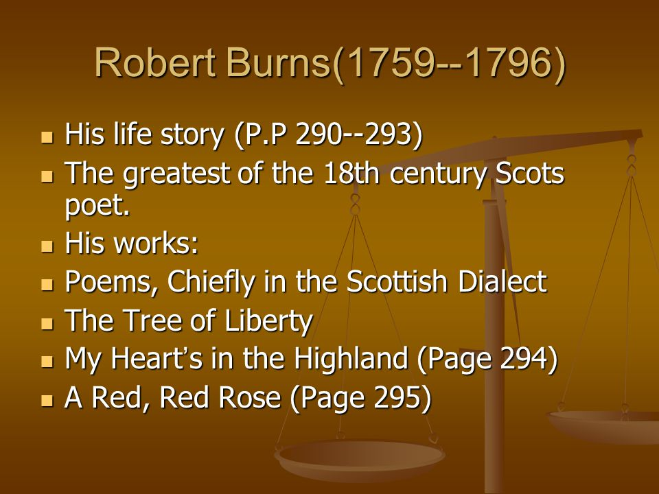 Robert Burns(1759--1796) His life story (P.P 290--293)