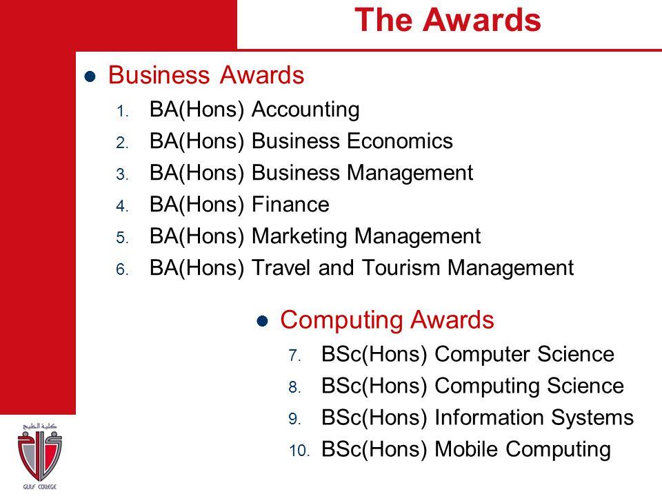 The Awards Business Awards Computing Awards BA(Hons) Accounting