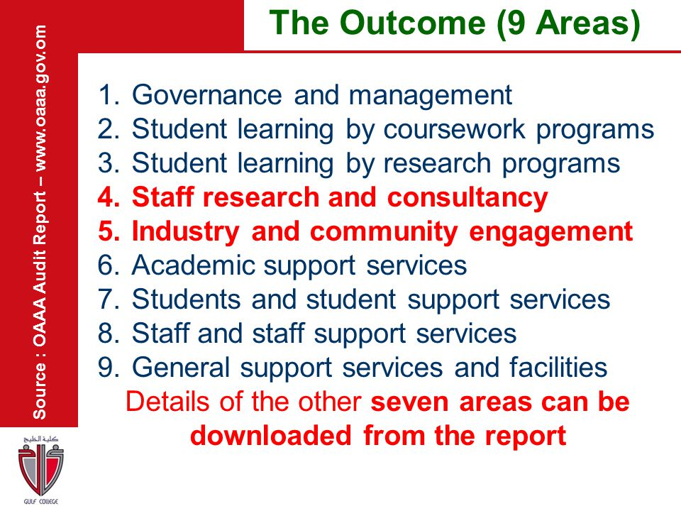 Details of the other seven areas can be downloaded from the report