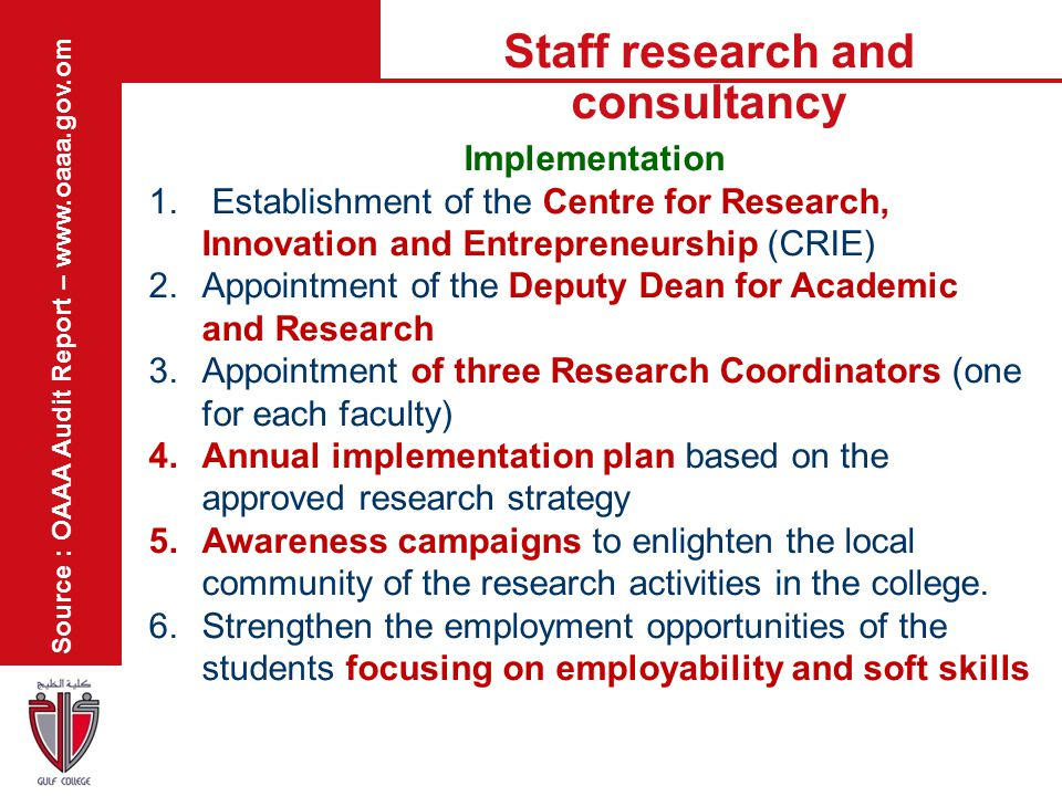 Staff research and consultancy