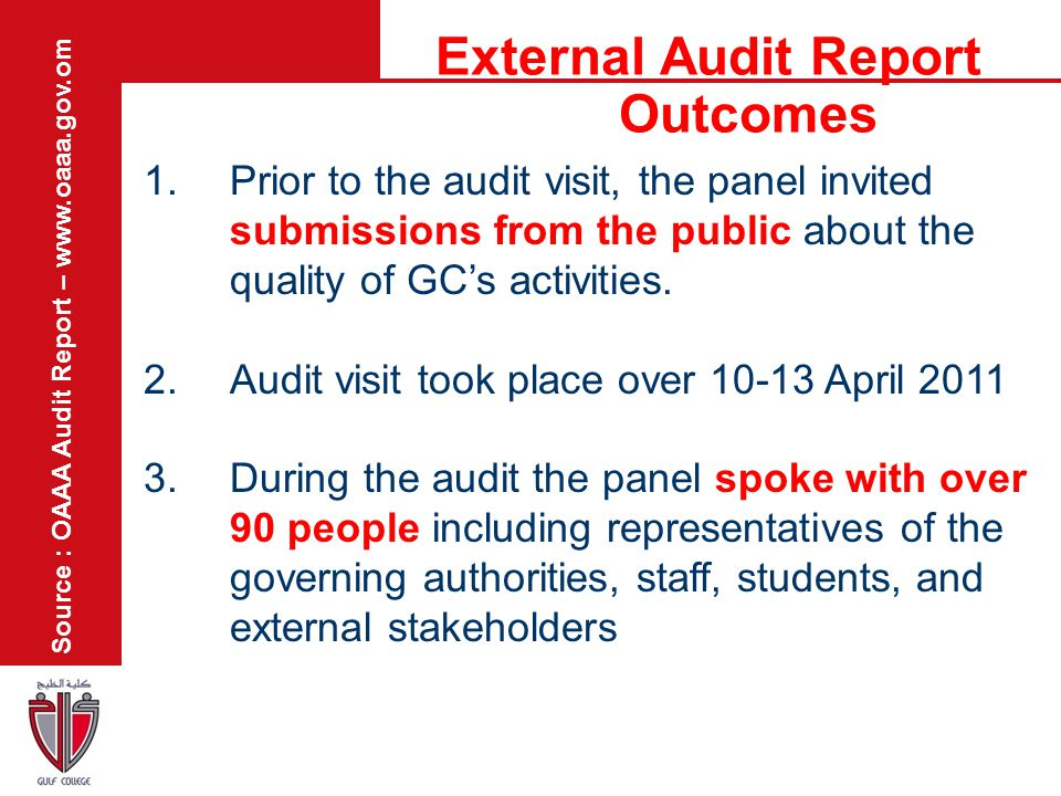External Audit Report Outcomes