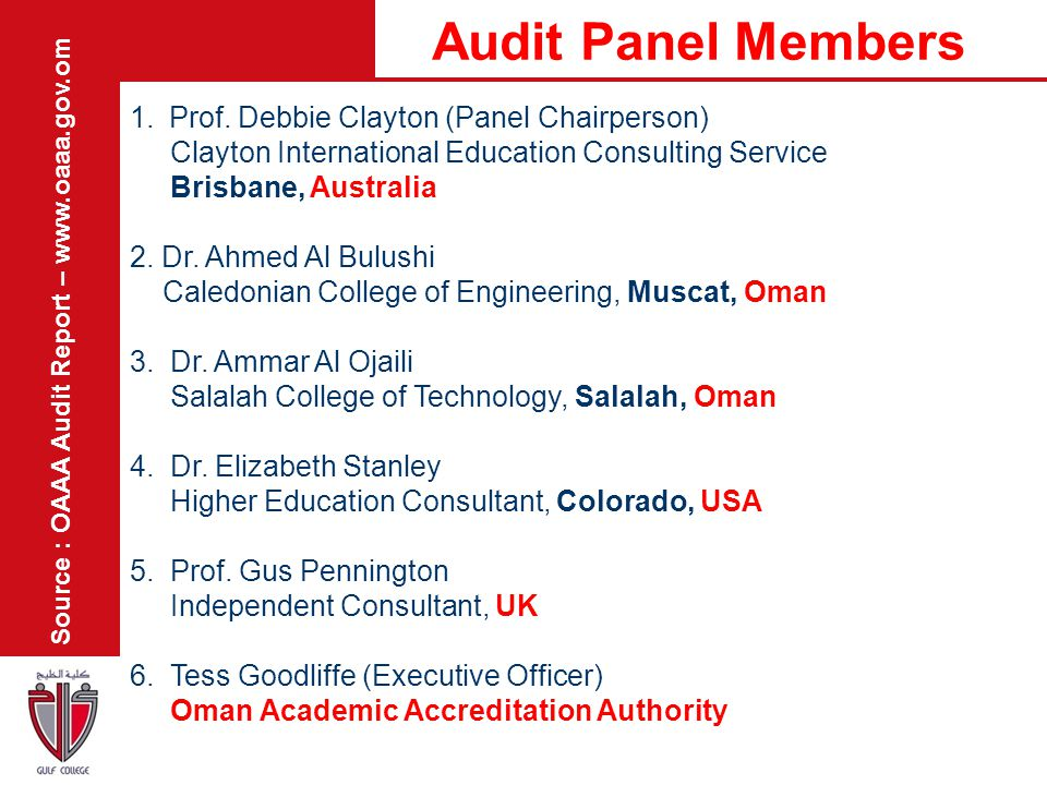 Audit Panel Members Prof. Debbie Clayton (Panel Chairperson)