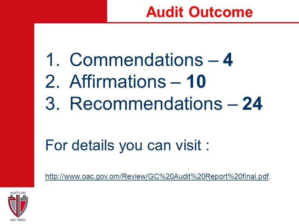 Commendations – 4 Affirmations – 10 Recommendations – 24 Audit Outcome