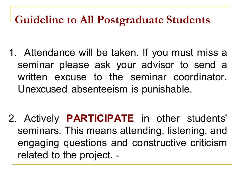 Guideline to All Postgraduate Students