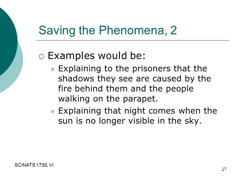 Saving the Phenomena, 2 Examples would be: