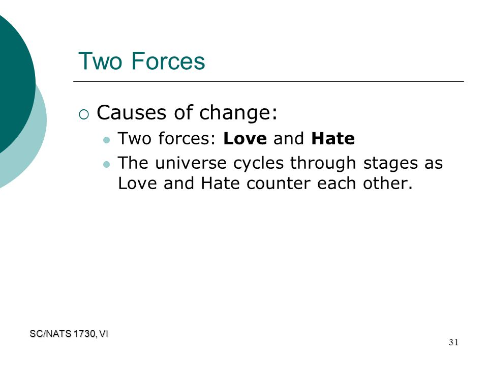 Two Forces Causes of change: Two forces: Love and Hate