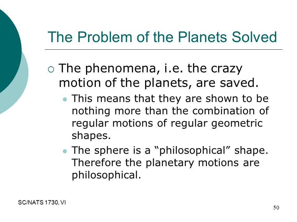 The Problem of the Planets Solved