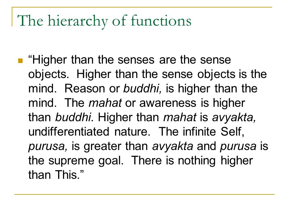 The hierarchy of functions