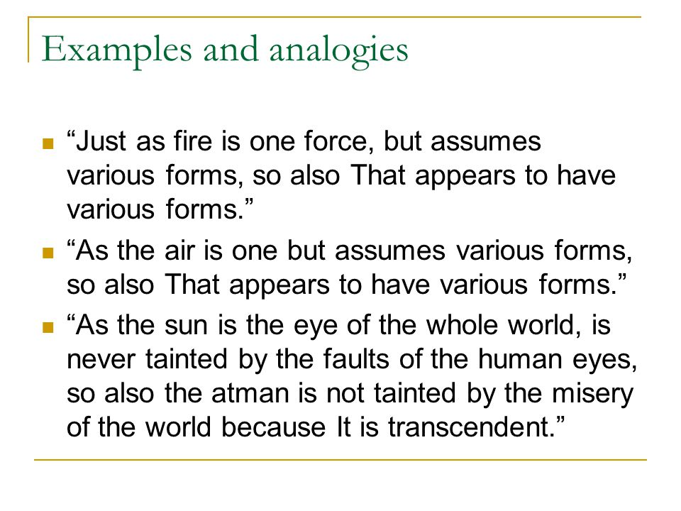 Examples and analogies