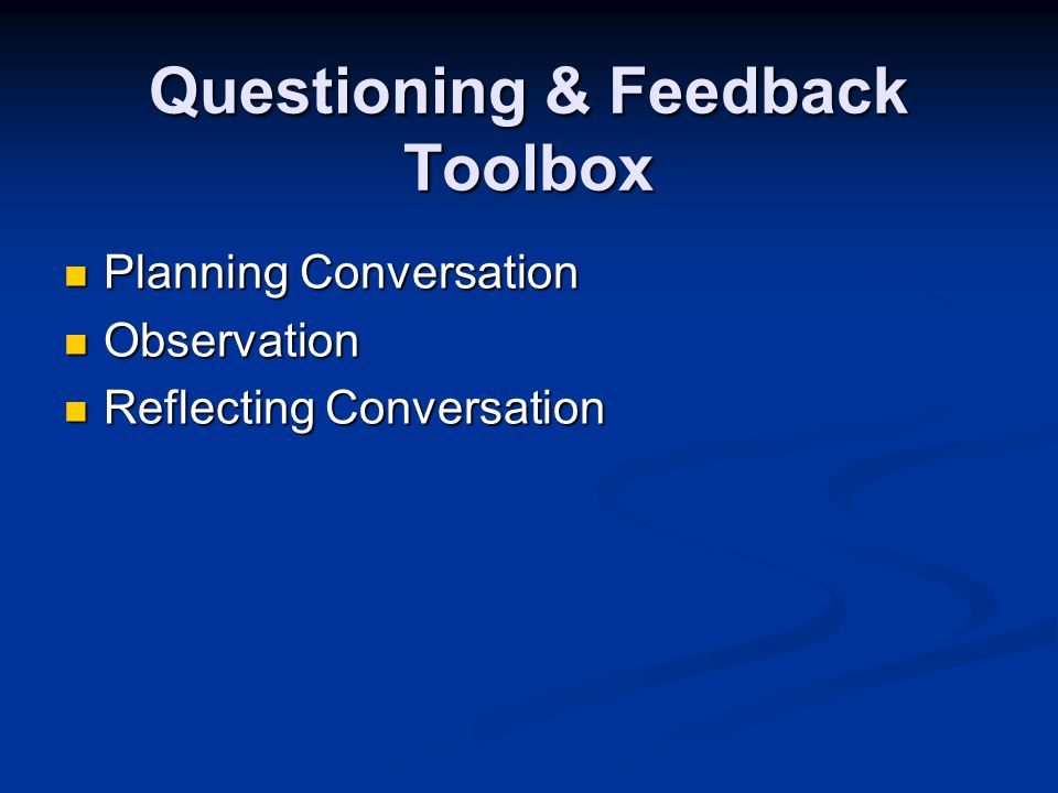 Questioning & Feedback Toolbox