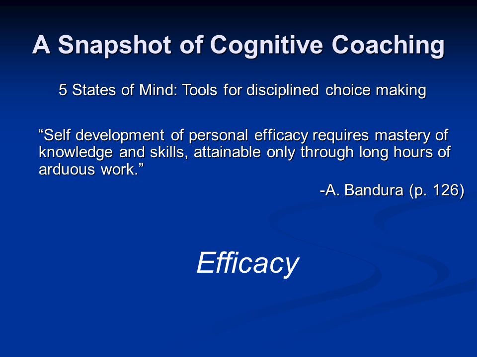 A Snapshot of Cognitive Coaching